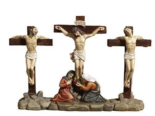 Paben Articoli Religiosi Set Crocifissione di Gesù e 2 ladroni in Resina, presepe Pasquale, Pasqua, Altezza cm.12,5 Lung.cm.19