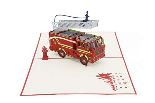 Feuerwehr, 3d Klappkarte, Löschzug, Feuerwehrauto, Pop Up Karte, Glückwunschkarte, Grußkarte, Geschenkkarte