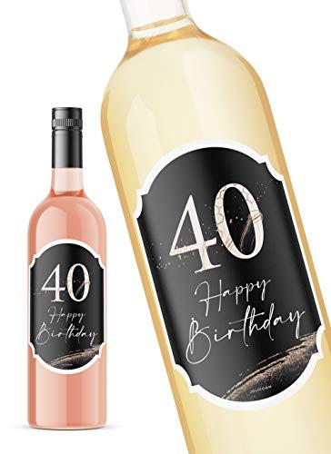 JoliCoon 40 Geburtstag Flaschenetikett - Happy Birthday 40 8,5x12cm