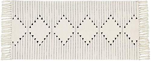 Elloevn Baumwollteppich, Bedruckte Moderne Handgewebt Teppiche Läufer mit Quasten, Waschbar Teppiche für Schlafzimmer Wohnzimmer Küche, Schwarz und Weiß, 60 x 90 cm