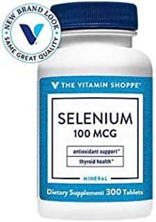 The Vitamin Shoppe Selenium 100mcg Mineral Supplement to Support Cellular Heart Health, Once Daily Antioxidant, Gluten Fre...