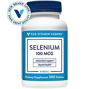 The Vitamin Shoppe Selenium 100mcg Mineral Supplement to Support Cellular Heart Health, Once Daily Antioxidant, Gluten Free Defends Against Free Radicals (300 Tablets)