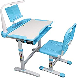 Allasfun Kids Desk and Chair Set, Height Adjustable Child Desk Ergonomic Student Study Desk and Chair Set with Large Stora...