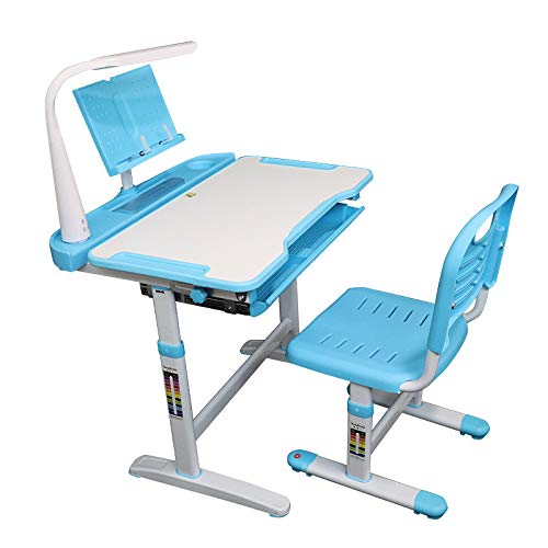 Allasfun Kids Desk and Chair Set, Height Adjustable Child Desk Ergonomic Student Study Desk and Chair Set with Large Storage Drawer, Bookstand, Rounded Corners Without Cutting Hands.… (Blue)