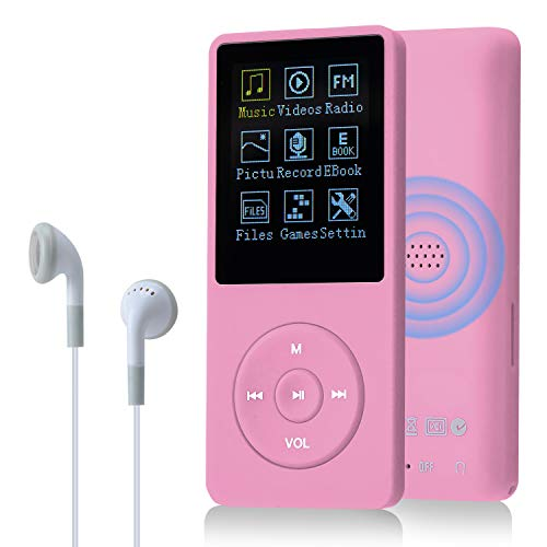 COVVY 8GB(Support bis zu 64GB SD Speicherkarte) Tragbare MP3 Musik Player 70 Stunden Musik Playback Lossless Sound Hi-Fi MP3 Player (Pink)