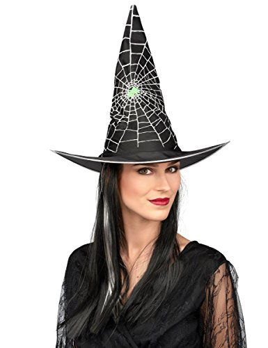 DEGUISE TOI Chapeau avec Perruque sorcière Noir et Blanc Femme Halloween - Coloré - Taille Unique