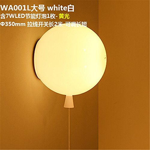 YU-K eenvoudige vintage woonkamer eetkamer kleur ballon wandlamp acryl bed koplamp kinderkamer wandlamp, Φ 35 cm, trekkabel schakelaar wit, warm licht