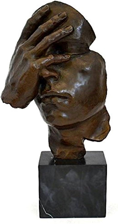 Augustandmarch BRONZEMASKE Maske SKULPTUR IN Bronze BESINNUNG Stille Schweigen MODERN Art Bronze BRONZESKULPTUR NACH DALÍ B0736C1SSD