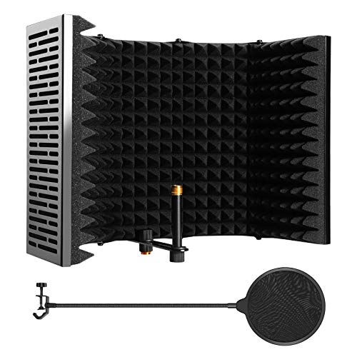 Microphone Isolation Shield, AGPTEK 5 Foldable Absorbing Foam Reflector Folding Panel, with Mic Pop Filter, Flexible & Durable, for Any Condenser Microphone Recording Equipment(5 Fold-Larger Size)