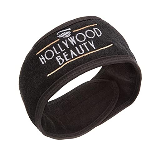 HOLLYWOOD BEAUTY Spa Headband for Woman Comfy & Soft - Adjustable Head Hair Band to Keep Hair Off the Face when Dermaplaning, Cleansing, Mask, Applying Makeup - Black
