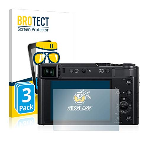 BROTECT Panzerglas Schutzfolie kompatibel mit Panasonic Lumix DC-TZ202 (3 Stück) - 9H Extrem Kratzfest, Anti-Fingerprint, Ultra-Transparent