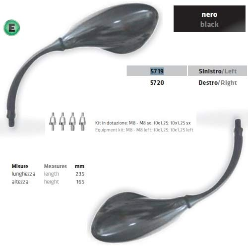 Compatible con Royal Enfield Bullet 500 Classic PAR DE Espejos DE Manillar para Motocicletas Far Universal RETROVISORES Espejos Negro Aprobado + Kit DE Montaje DE Tornillo M.8 DX-SX 10X1.25