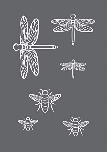 Rayher 45125000 Schablone Insekten, Format DIN A5, mit Rakel, sie bdruck-Schablone, Malschablone, selbstklebend