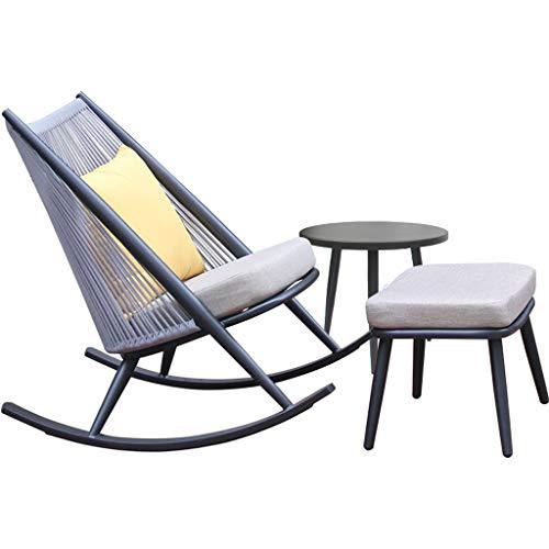 SPARROW X Silla Mecedora con Cojín Rattan Reclinable Muebles De Jardín Al Aire Libre Interior Sofá Perezoso Silla De Ocio Balcón Siesta Silla Marco De Aluminio