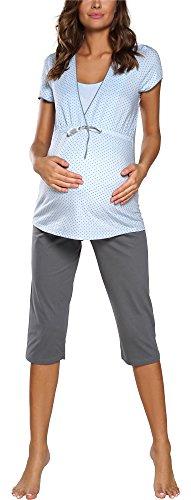 Donna Pigiama Premaman Set Top Manica Corta e Pantaloni 3/4 Due Pezzi | Pigiama Premaman alla Moda (M, Blu/Grigio)