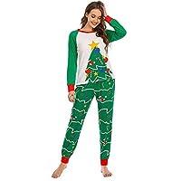クリスマス長袖パンツ秋冬レディースルーズホームウェア、パジャマレディーススーツ-緑_大人の婦人服M