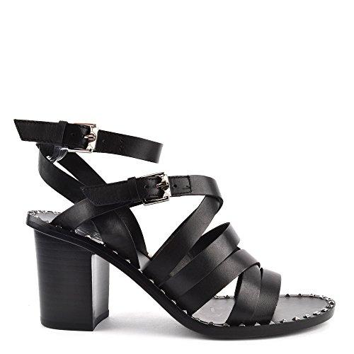 Ash Footwear Chaussures Puket Sandales a Talon en Cuir Noir Femme Black 36