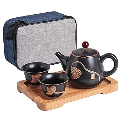 Bgbg PorcelainTeaSet-5-Piece CeramicTeapot setwith 1 Tea Pot (200ml/6.8OZ),2Tea Cups (40ml/1.4OZ),1BambooTeaTrayand1PortableTravelBag,PortableTravel Tea Set for an Ideal Gift