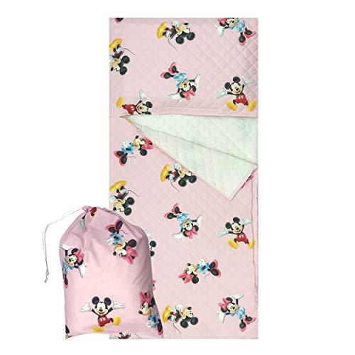 Saco de dormir/juego de guardería para niño y niña de 2 a 6 años – Tejido acolchado 100% algodón – Fabricado en Italia (Set guardería, Mickey Minnie Rosa)