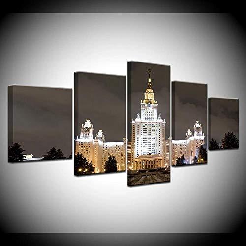 Lienzo decorativo para pared, diseño de la Universidad Estatal de Moscú, 5 piezas, arte moderno enmarcado en las imágenes para sala de estar, dormitorio, oficina, decoración de pared, 100 x 55 cm