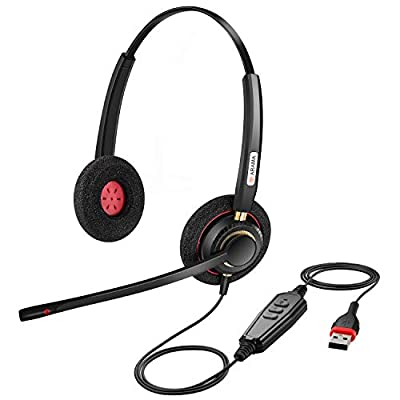 USB Headset with Microphone Noise Cancelling & Audio Controls Ultra Comfort USB Headset for Computer Laptop PC Business Skype UC Webinar Call Center Office