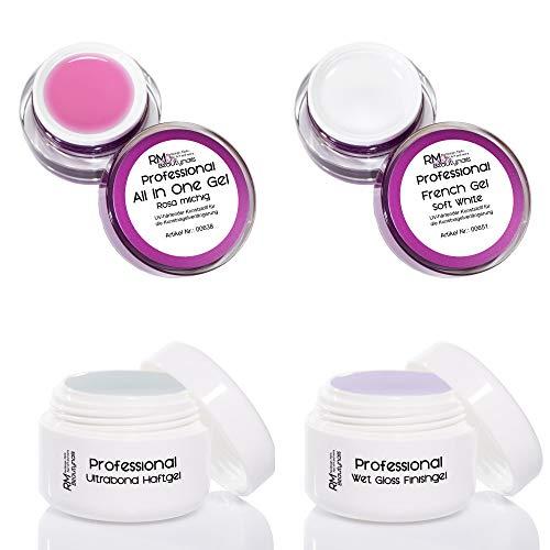 Lot de 4 gels Babyboomer - Natural Look Premium UV - Gel adhésif tout-en-un - Rose - Gel French Soft White - Finition brillante - RM Beautynails