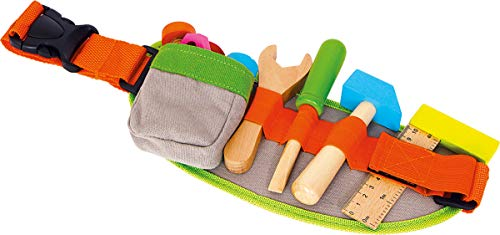 Small Foot 4745 Ceinture à outils réglable et accessoires en bois colorés, à partir de 3 ans