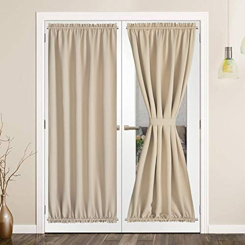 SHEEROOM French Door Curtains, Thermal Insulated Drapes Rod Pocket Blackout Privacy Panel for Living Room Patio Glass Door Window with Tieback Set of 2 Panels, 54 x 72 inch, Beige