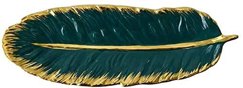 KKGUD Bandeja de cerámica para servir postres, aperitivos, joyas, diseño de plumas verdes (35,56 cm)