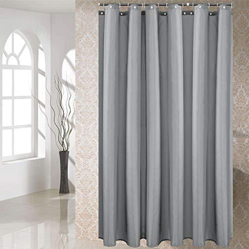 Hengweiuk Duschvorhang, wasserdicht, schimmelresistent, für Badezimmer, einfarbig, mit Vorhanghaken, 180 x 180 cm, 12 Haken aus reinem Kupfer, hellgrau, 180 * 180 cm