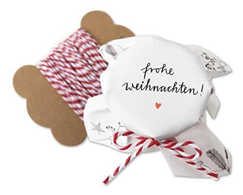 25 MINI Marmeladendeckchen - Frohe Weihnachten - weihnachtliche Gläserdeckchen Weiß für Marmelade Weihnachtsgeschenke, ideal für kleine Gläser, Recyclingpapier Abreißblock + 10 m Garn + Justiergummi