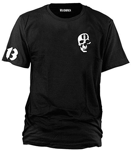 Wolkenbruch® T-Shirt Totenkopf 13, schwarz, Gr.L