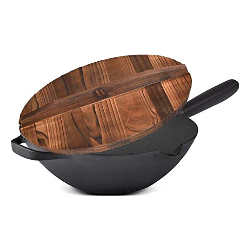 ZLDGYG Round Bottom Cast Iron Wok Wok-, la main et Woks Poêlées casseroles avec poignée fond plat Casseroles Non Stick Pot Durable (Size : Multi-colored)
