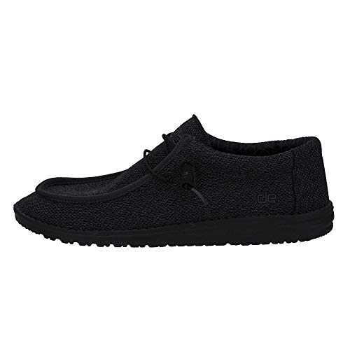 Mens Hey Dude Wally Sox Micro Total Black Lace Up Casual Shoes