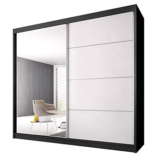 Schwebetürenschrank Claudia 35 mit Spiegel Kleiderschrank mit Kleiderstange und Einlegeboden Schlafzimmer- Wohnzimmerschrank Schiebetüren DREI Großen Modern (Schwarz / Weiß Glanz + Spiegel, 183 cm)