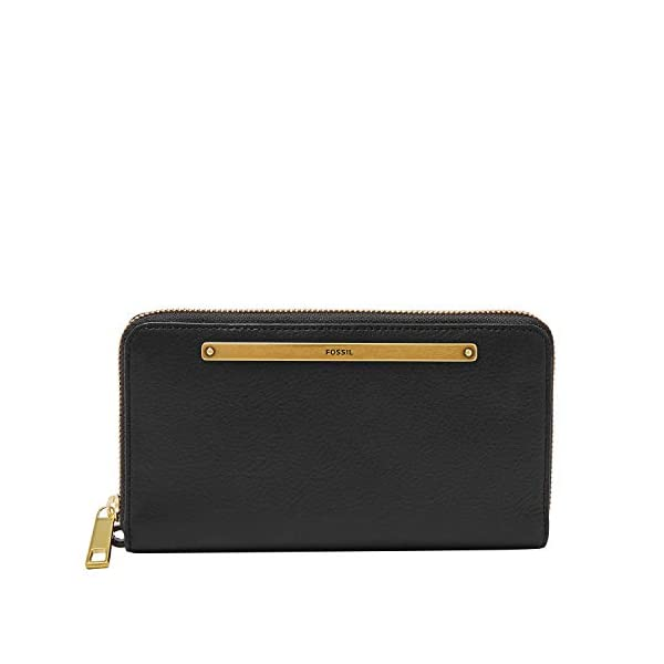 Fossil Women's Liza Leather Zip Around Clutch Wallet With Retractable Wristlet Strap 1