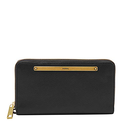 Fossil Women's Liza Leather Zip Around Clutch Wallet, Black