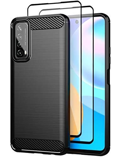 Teayoha Hülle für Huawei P Smart 2021 Hülle, mit Bildschirmschutzfolie aus gehärtetem Glas [2 Stück], Kratzfest gegen Kohlefaser, stoßdämpfende weiche TPU Zeichnung Hülle Handyabdeckung - Schwarz