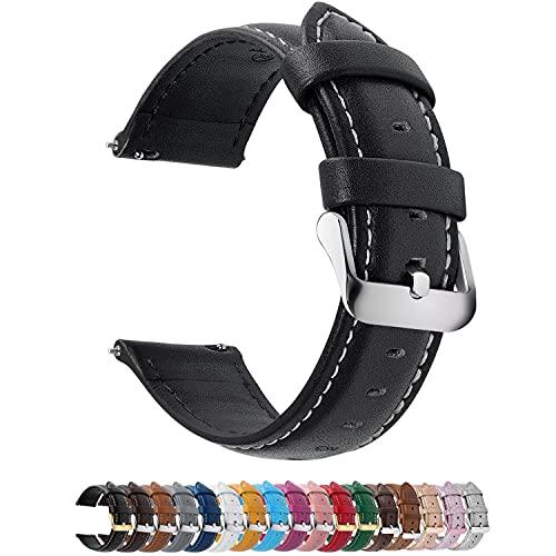 Fullmosa 12 Farben Uhrenarmband, Axus Serie Lederarmband Ersatz-Watch Armband mit Edelstahl Metall Schließe für Herren Damen 14/16/18/20/22/24mm,Schwarz 24mm