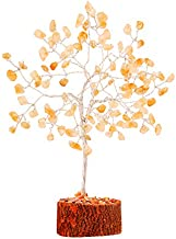 YATHABI Citrine Silver Wire Gemstone Tree Feng Shui Bonsai for Attracting Positive Energies Crystal Healing Chakra Cleansing Aura Cleansing & Home Decor Size: 7-8 Inch Approx