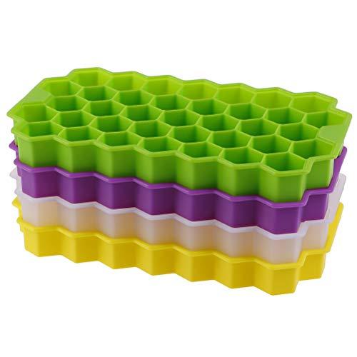 BraveWind Juego de 4 bandejas de cubitos de hielo con forma de panal de abeja de silicona para cubitos de hielo, moldes para paletas de hielo, moldes de silicona para té, zumo, bebidas frías