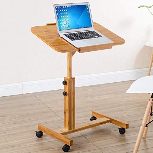 MU Haushalt Klapptisch Lazy Table Up/Down Bambus Laptop Schreibtisch Tisch Schreibtisch Moving Nachttisch Klapptisch mit Roller, L