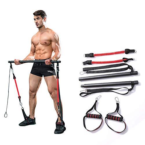 Tragbares Pilates Bar Kit Mit Widerstandsband,Bodybuilding Yoga Übung Pilates Stick Mit Fußschlaufe Für Ganzkörpertraining, Yoga, Fitness, Stretch, Sculpt,Schwarz,B*2 Pieces