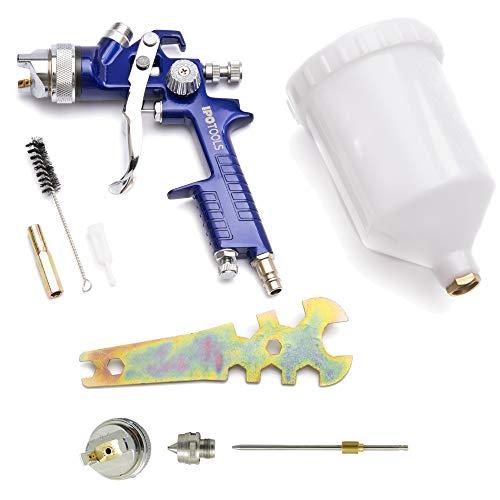 IPOTOOLS HVLP Lackierpistole Spritzpistole 1,3mm + 2,0mm Düse - H-827P Profi Farbsprühsystem Spraypistole mit 600 ml Plastikbecher und Edelstahldüse 1,3mm + Düsensatz 2,0mm