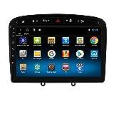 hizpo Autoradio Bluetooth Manos Libres Autoradio para Peugeot 308 308S 408 Android 10 GPS Control del Volante Wi-Fi 4G Entrada de Vista Trasera Dab+ DVR Enlace de Duplicación Radio FM/USB/OBD2 Negro