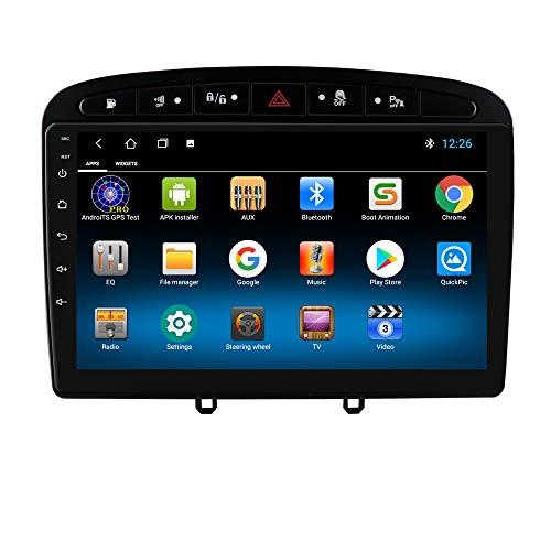 hizpo Autoradio Bluetooth Vivavoce Compatibile con PEUGEOT 308 308S 408 DAB Autoradio 1+16GB WiFi 4G GPS Ricevitore Radio Link Specchio USB Telecamera Posteriore Controllo del Volante DAB+/FM/USB Nero