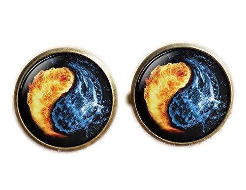 Yin Yang Boutons de manchette Lune et étoiles Bleu et blanc Yoga spirituel Cadeau