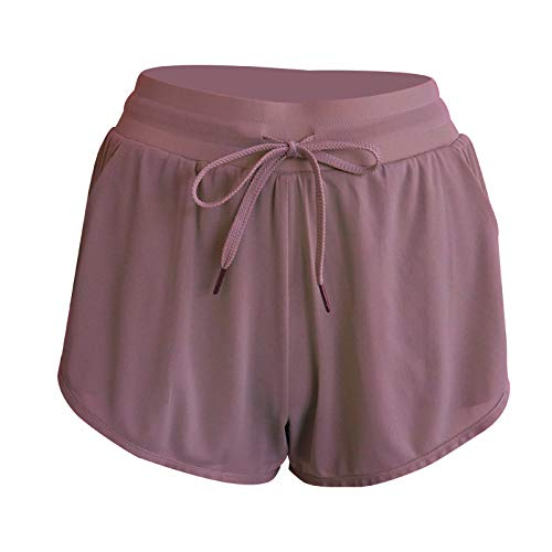 Pantalones Cortos para Mujer Pantalones Cortos de Yoga Transpirables de Color Liso Simples Pantalones Cortos Deportivos de Secado rápido para Correr y Correr M