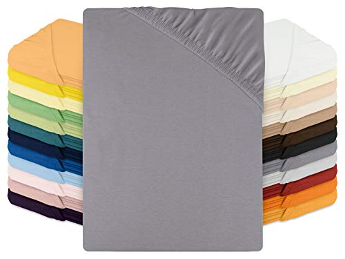 Schlafgut Spannbetttuch Jersey aus 100% Baumwolle - Steghöhe ca. 30 cm - in 24 Farben - in 3 Größen, 140-160 x 200 cm, Graphit