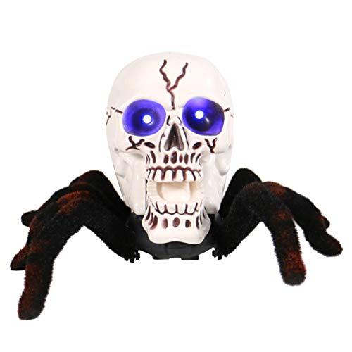 Amosfun Fernbedienung Spinne Spielzeug Halloween Riesenspinne Schädel Spinne Trick Spielzeug für Halloween Indoor Outdoor Haus Hof Dekorationen